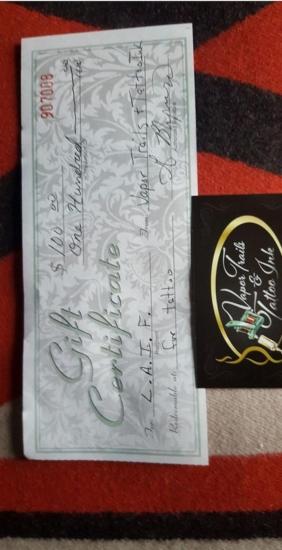 $100 Tattoo Gift Certificate