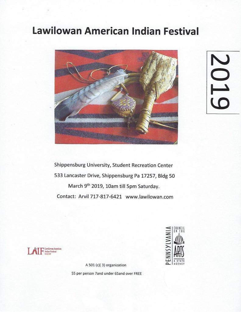 2019 Lawilowan American Indian Festival Flyer -- ready to print